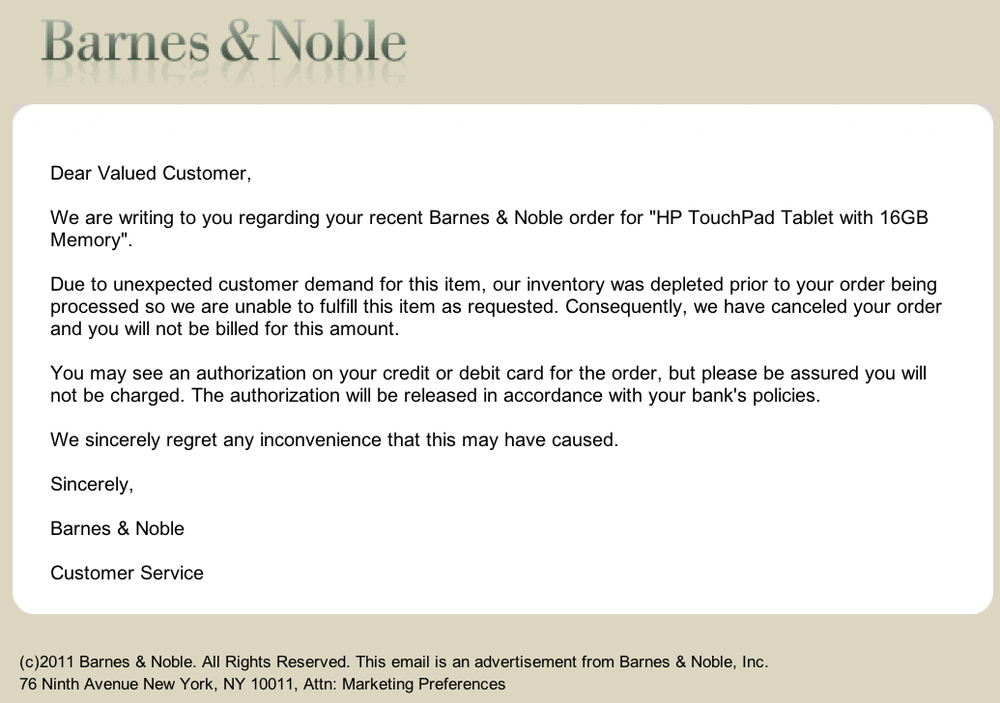 Barnes & Noble HP TouchPad Rejection