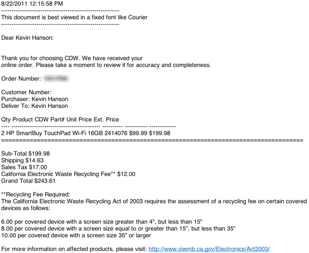 CDW HP TouchPad Order Confirmation