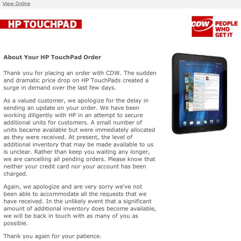 CDW HP TouchPad Rejection Letter